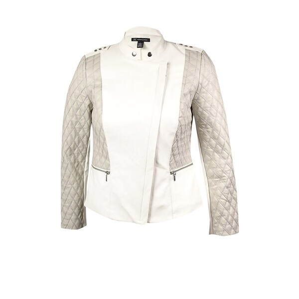 INC International Concepts Women's Quilted Moto Jacket - washed white - xL