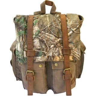 Realtree Canvas Backpack with Leather Trim - olive with realtree