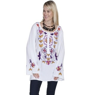 Scully Western Shirt Womens Long Sleeve Embroidered Peasant - White