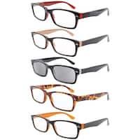 Eyekepper 5-Pack Retro Color Frame Reading Glasses Includes Sun Reader