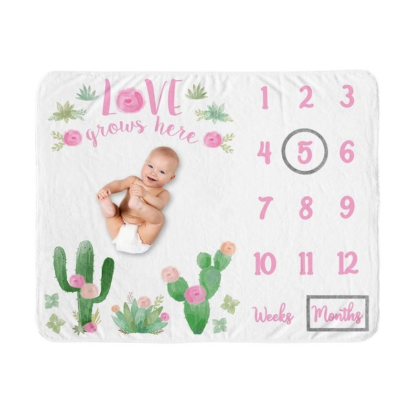 Cactus Floral Collection Girl Baby Monthly Milestone Blanket - Pink and Green Boho Watercolor Desert Love Grows Here. Opens flyout.