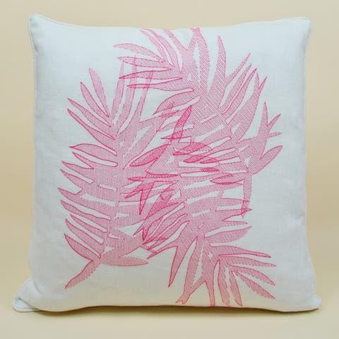 Jiti Multi Palm Floral Embroidery Linen Lumbar Pillow - 24 x 24