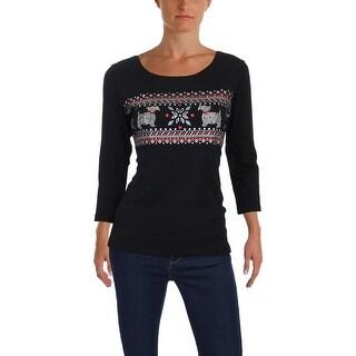 Karen Scott Womens Nordic Graphic T-Shirt Metallic Holiday