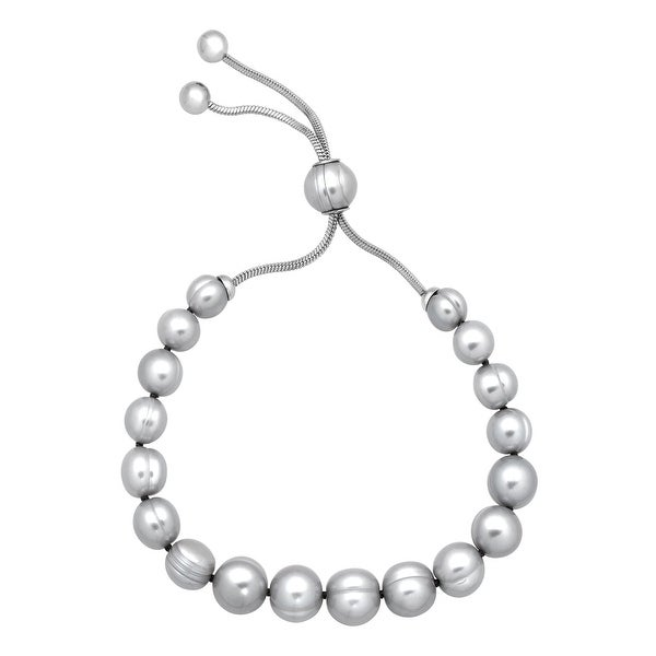 Honora 7-10 mm Freshwater Grey Pearl Bolo Bracelet with Slider in Stainless Steel