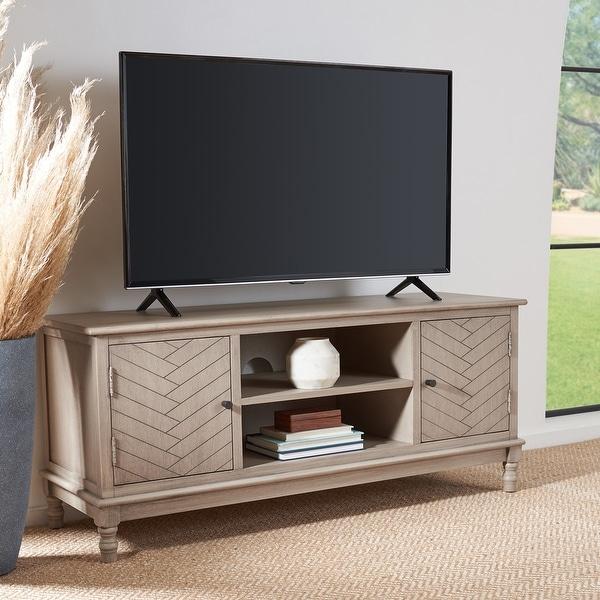 "SAFAVIEH Magnolia 2-Door 2-Shelf Storage TV Media Stand - 47.3"" W x 15.8"" L x 20"" H. Opens flyout."