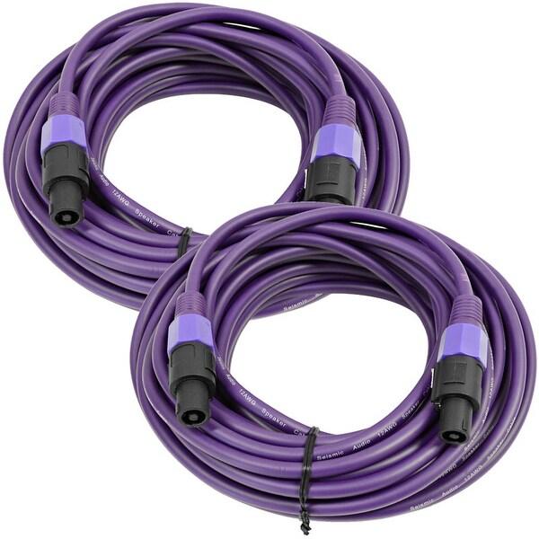 SEISMIC AUDIO Pair of 12 Gauge 50' Purple Speakon to Speakon Speaker Cables