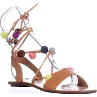 Loeffler Randall Saskia Pom Pom Flat Sandals, Light Cuoio