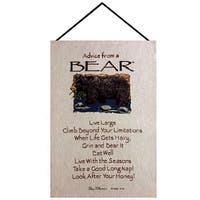 """Brown and Sand """"Advice from a Bear"""" Wall Art Hanging Tapestry 16"""" X 26"""""""