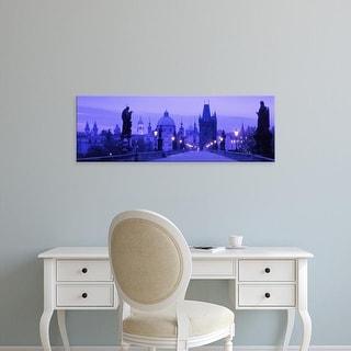 Easy Art Prints Panoramic Images's 'Statues along a bridge, Charles Bridge, Prague, Czech Republic' Premium Canvas Art