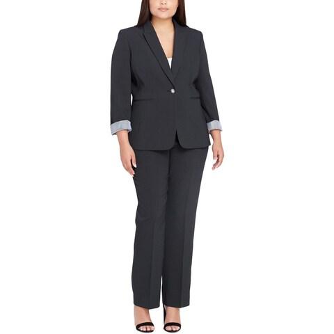Tahari ASL Womens Plus Pant Suit Pinstripe Business