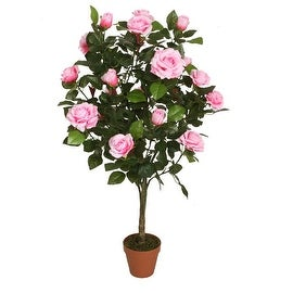 """44.25"""" Decorative Potted Artificial Green and Pink Floral Rose Garden Tree"""
