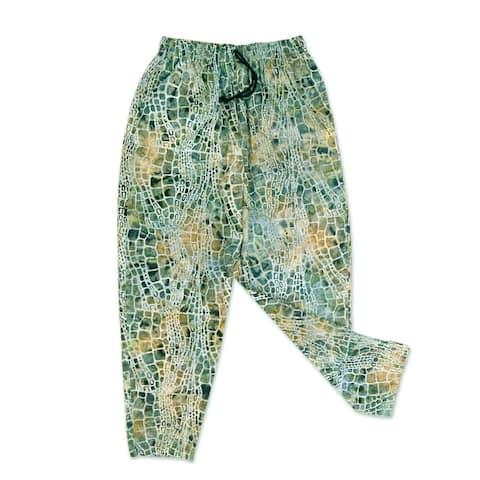 NOVICA Forest Pebbles, Men's cotton lounge pants