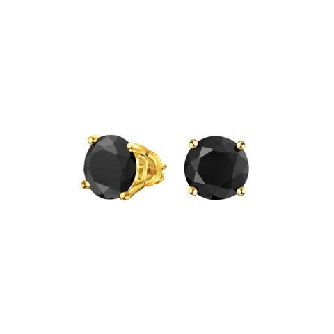 0aaffc8b7 .75 CT Black Round Cubic Zirconia Solitaire Brilliant Cut CZ Stud Earrings  Screwback 14K Gold