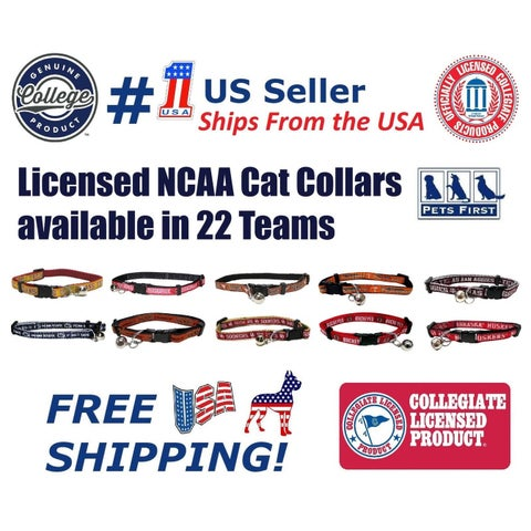 Pets First NCAA Cat Collar - Durable and Heavy Duty Nylon Web Collar