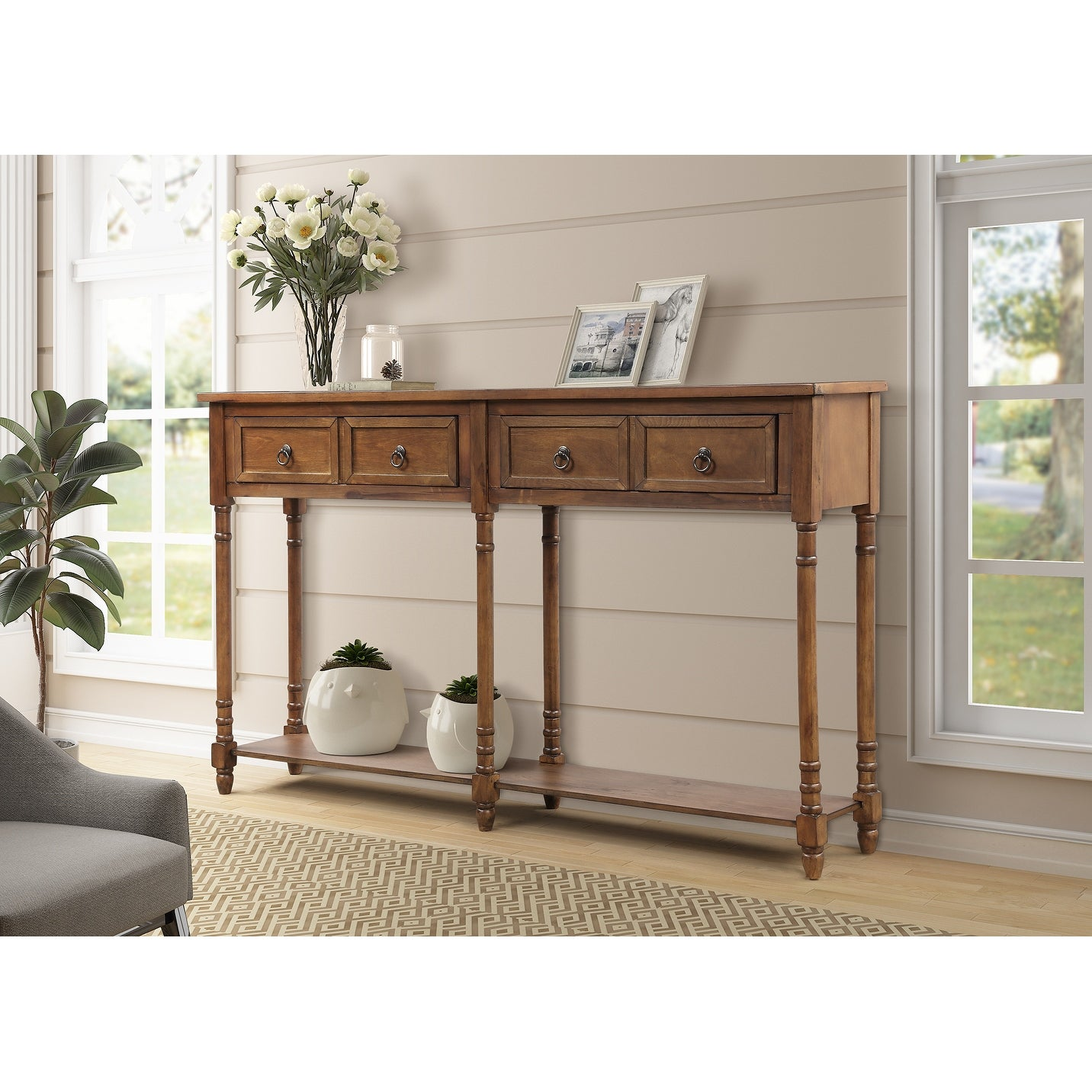 Picture of: Antique Walnut Wood Sofa Entryway Console Tables With 4 Drawers Antique Walnut On Sale Overstock 28739212