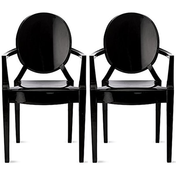 2xhome Set of Two (2) Black Modern Plastic Chair Armchair With Arm Polycarbonate Plastic