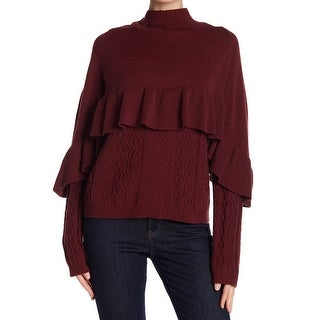 Project Nadaam Red Womens Size Small S Ruffled Mock Neck Sweater
