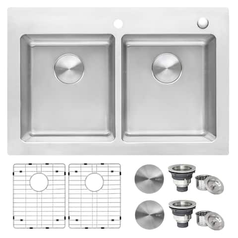 Ruvati 33 x 22 inch Drop-in Topmount Kitchen Sink 16 Gauge Stainless Steel 50/50 Double Bowl - RVM5150 - 8' x 11'