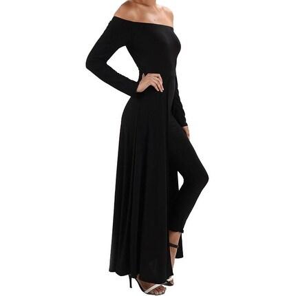 Funfash Plus Size Women Black Pants Leggings Long Cape Dress Jumpsuit