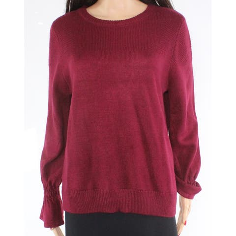 Joe Fresh Women's Burgundy Medium Knit Crewneck Sweater