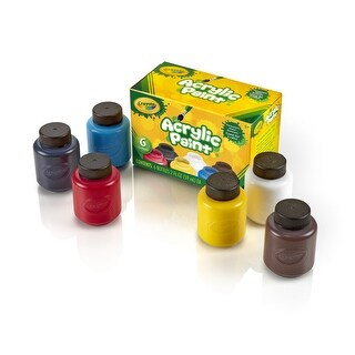 Crayola Water-Resistant Acrylic Paint Set, 2 oz Bottle, Assorted Color, Set of 6