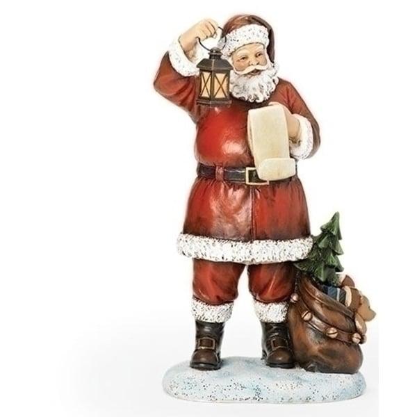 "10.25"" Joseph's Studio Santa with Lantern and List Figure"