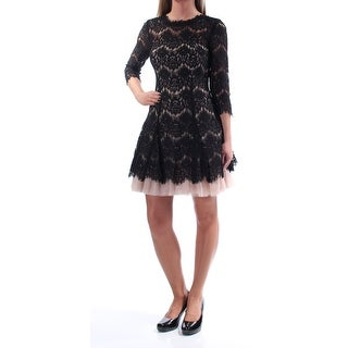BETSY & ADAM $249 Womens 1385 Beige Lace 3/4 Sleeve Fit + Flare Dress 4 B+B