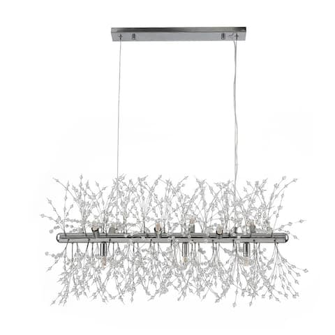 9 - Light Unique Modern Linear Chandelier Pendant with Beaded Accents