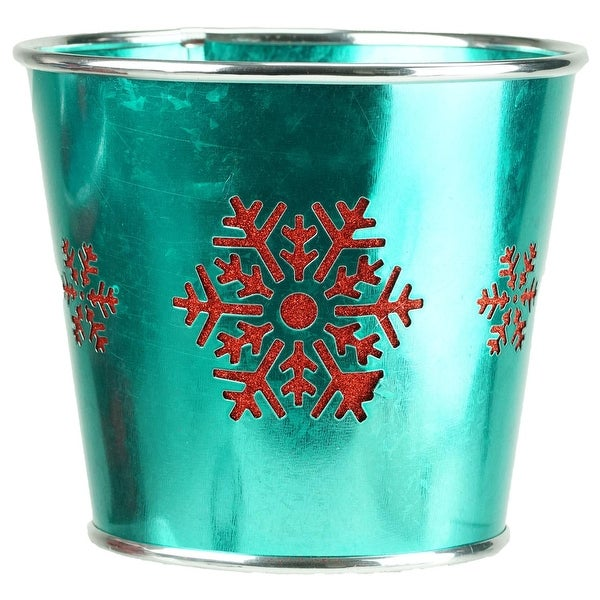 """6.5"""" Small Teal Green with Red Snowflakes Christmas Potted Plant Cover"""