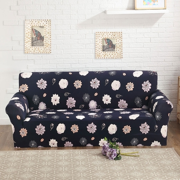 Floral Pattern L Shaped Stretch Sofa Covers Couch Slipcovers For 1 2 3  Seater