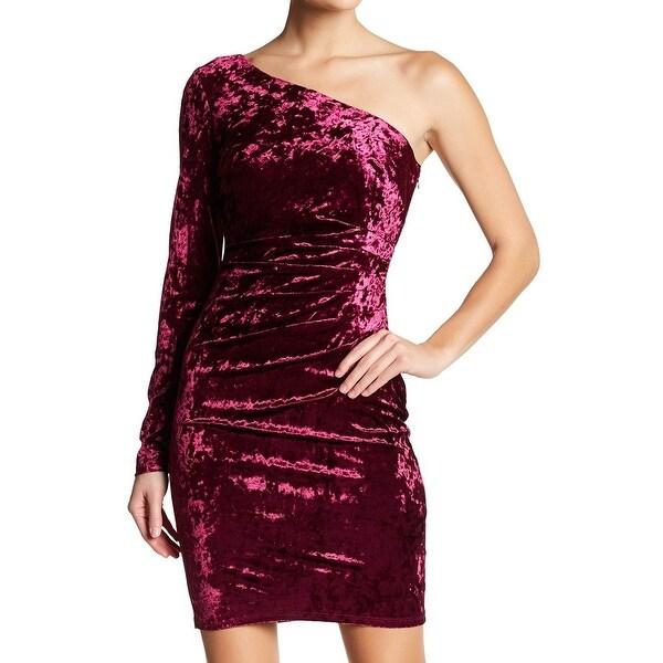 Eliza J Wine Women's Velvet One-Shoulder Sheath Dress
