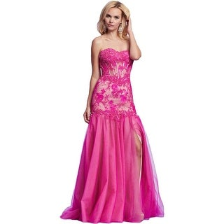 Mac Duggal Womens Lace Prom Formal Dress