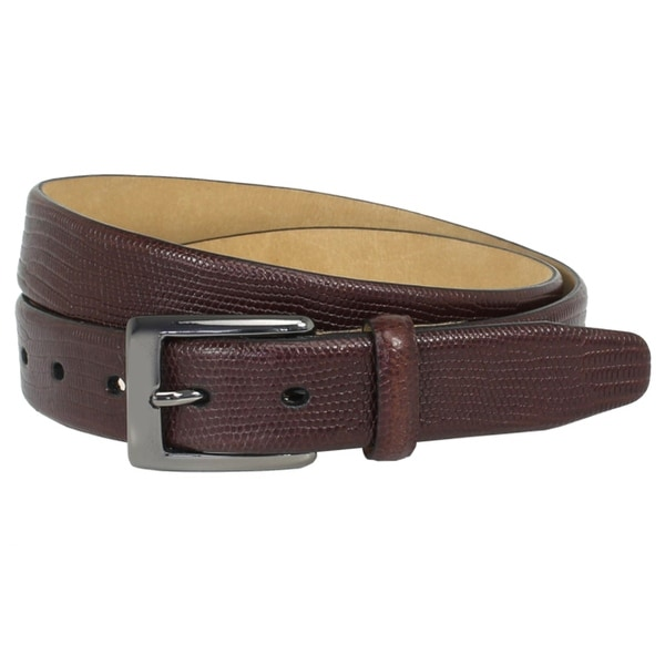 The British Belt Company Burley Italian Leather Belt with Embossed Lizard