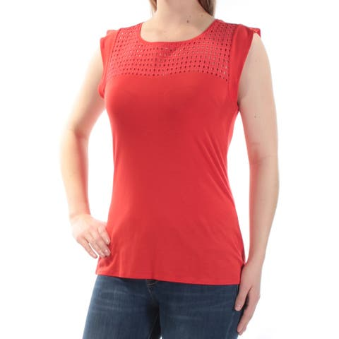 MAISON JULES Womens Red Eyelet Cap Sleeve Jewel Neck Top Size 2XS