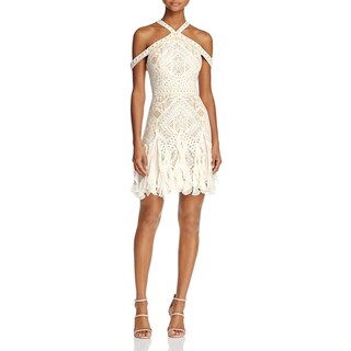BCBG Max Azria Womens Leighann Cocktail Dress Lace Halter