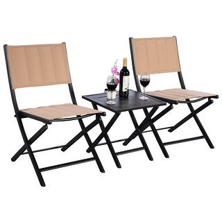 Costway 3PCS Steel Folding Square Table Chairs Set Bistro Garden Furniture