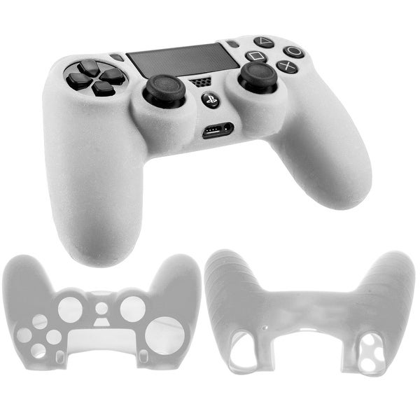 Soft Silicone Gel Case Protective Rubber Skin Cover For Sony Play station 4 PS4Video Game Console Controller WHITE