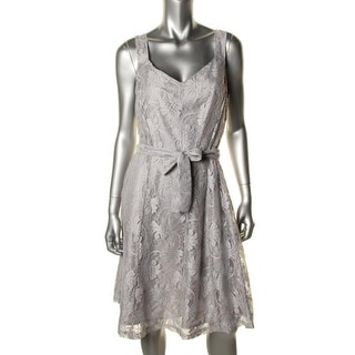 Ellen Tracy Womens Lace Metallic Cocktail Dress - 6