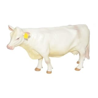 "Little Buster Toy Cow Charolais Durable Plastic 4"" x 6"" White 500258