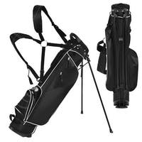 Gymax Black Golf Stand Cart Bag Club with Carry Organizer Pockets Blue
