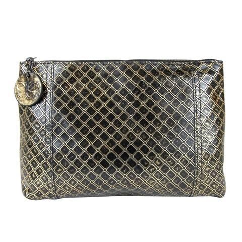 Bottega Veneta Women's Intrecciomirage Gold / Black Leather Clutch Pouch Bag 301204 8414 - One size