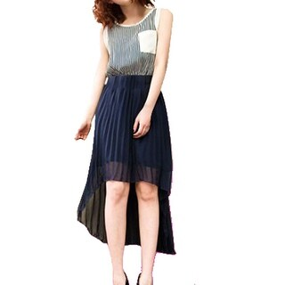 Unique Bargains Women Sleeveless Irregular Hem Stripes Casual Chiffon Dress Navy Blue XS
