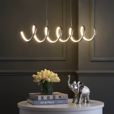 """Ali 31"""" Dimmable Integrated LED Metal Pendant, Chrome by JONATHAN Y"""