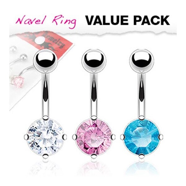 3 Pcs Pack of Clear, Pink, and Aqua Color Stainless Steel Round CZ Prong Navel Belly Button Ring