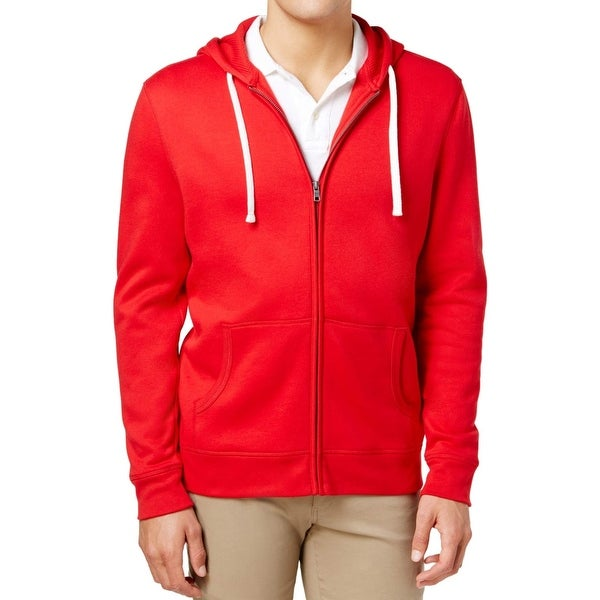 Club Room Fire Red Mens Size Large L Solid Fleece Full-Zip Jacket