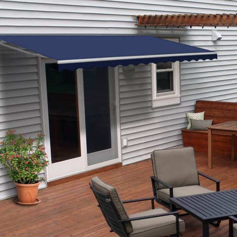 ALEKO Retractable 6.5 x 5 ft Deck Sunshade Patio Awning Blue