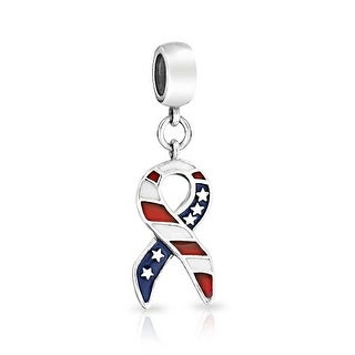 Bling Jewelry Patriotic American Flag Ribbon Dangle Bead Charm .925 Sterling Silver