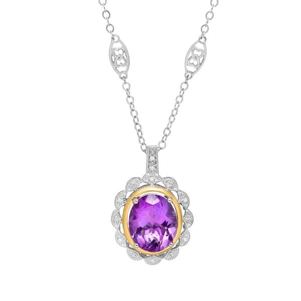 4 3/8 ct Amethyst Necklace with Diamonds in Sterling Silver & 14K Gold