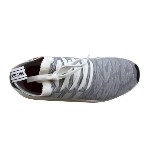 Shop Adidas Men S Nmd R2 Primeknit Grey Orange By9410 Overstock 27339168