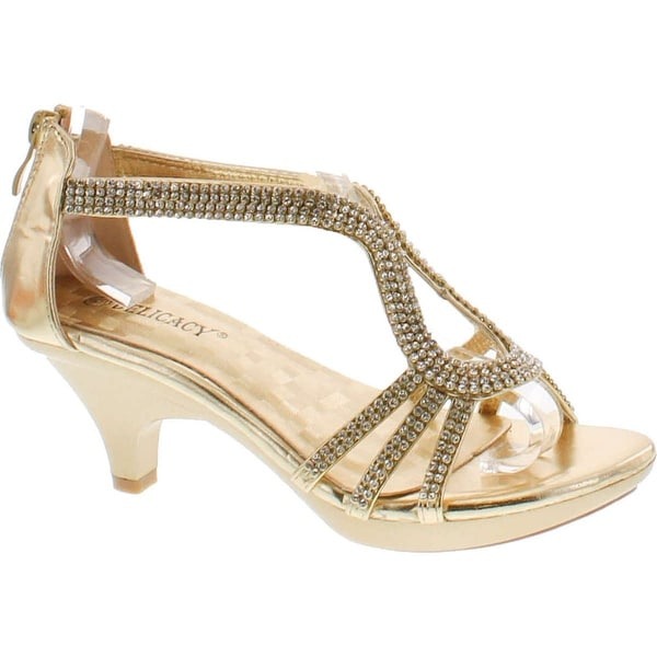 Delicacy Angel 36 Women Dress Sandal Rhinestone Low Heel Pumps - Gold